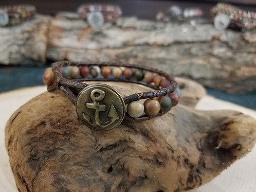 Red Creek Jasper With Anchor Button