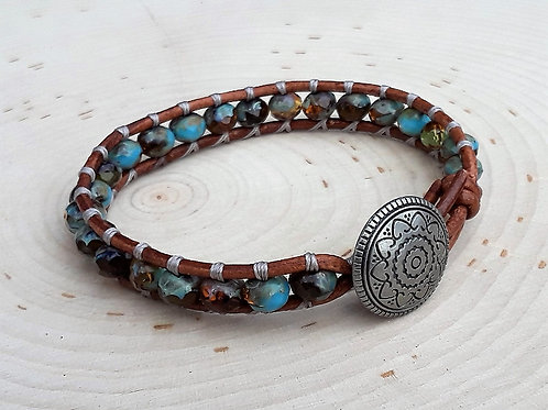 Turquoise and Brown Czech With Concho Button