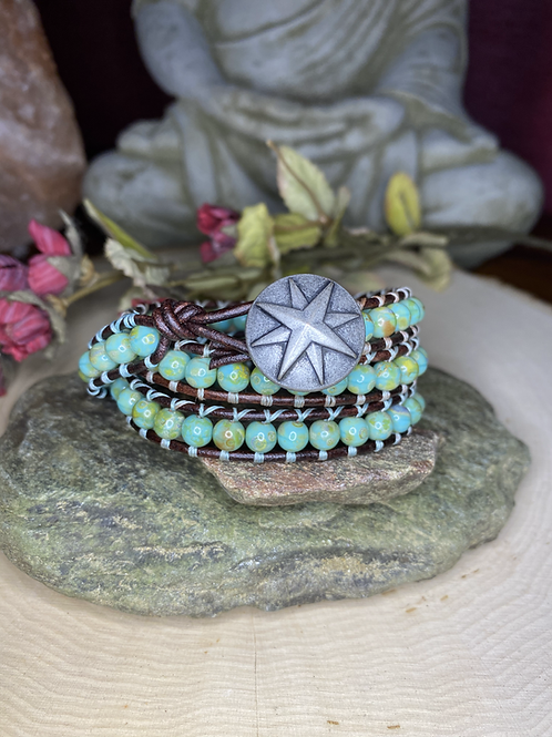 Round Turquoise Czech Glass with Rose Compass