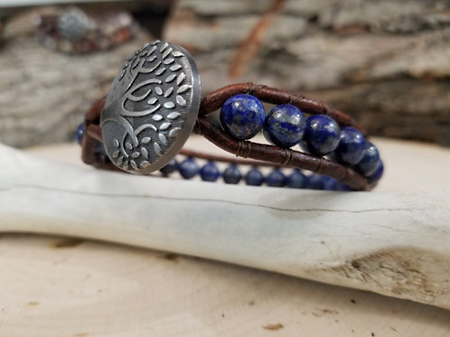 Lapis Lazuli With Tree Button
