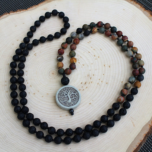 Matte Red Creek Jasper Mala With Tree Charm