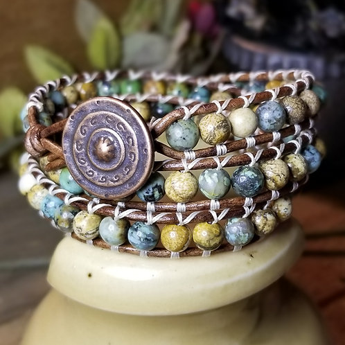 African Turquoise and Picture Jasper Wrap Bracelet