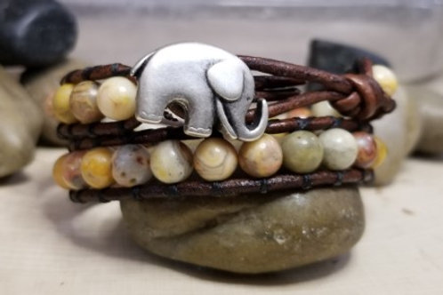 Yellow Crazy Lace Agate With Elephant Button
