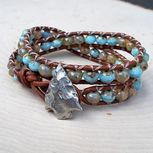 Turquoise Czech With Arrowhead Button