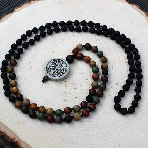 Red Creek Jasper Mala with Tree Charm