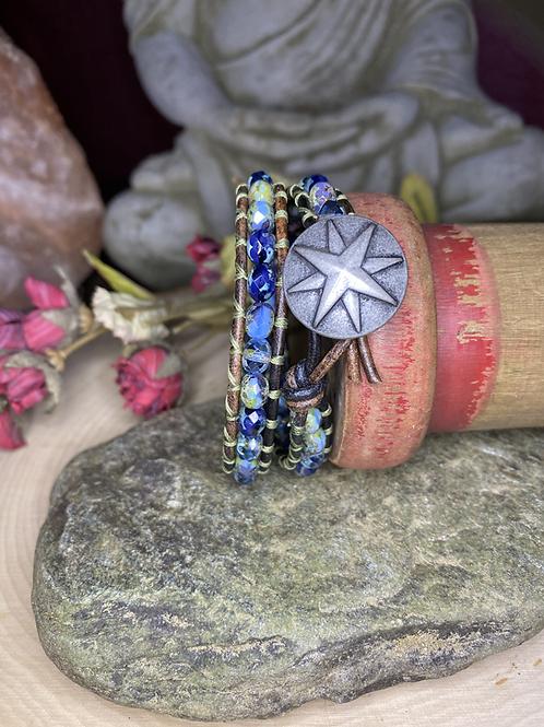 Blue Czech Glass with Rose Compass