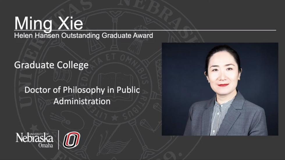 2020 UNO Helen Hansen Outstanding Graduate Student Award