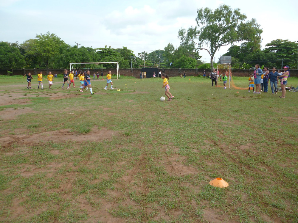 Children playing soccer at the Soccer Without Borders site in Granada, Nicaragua