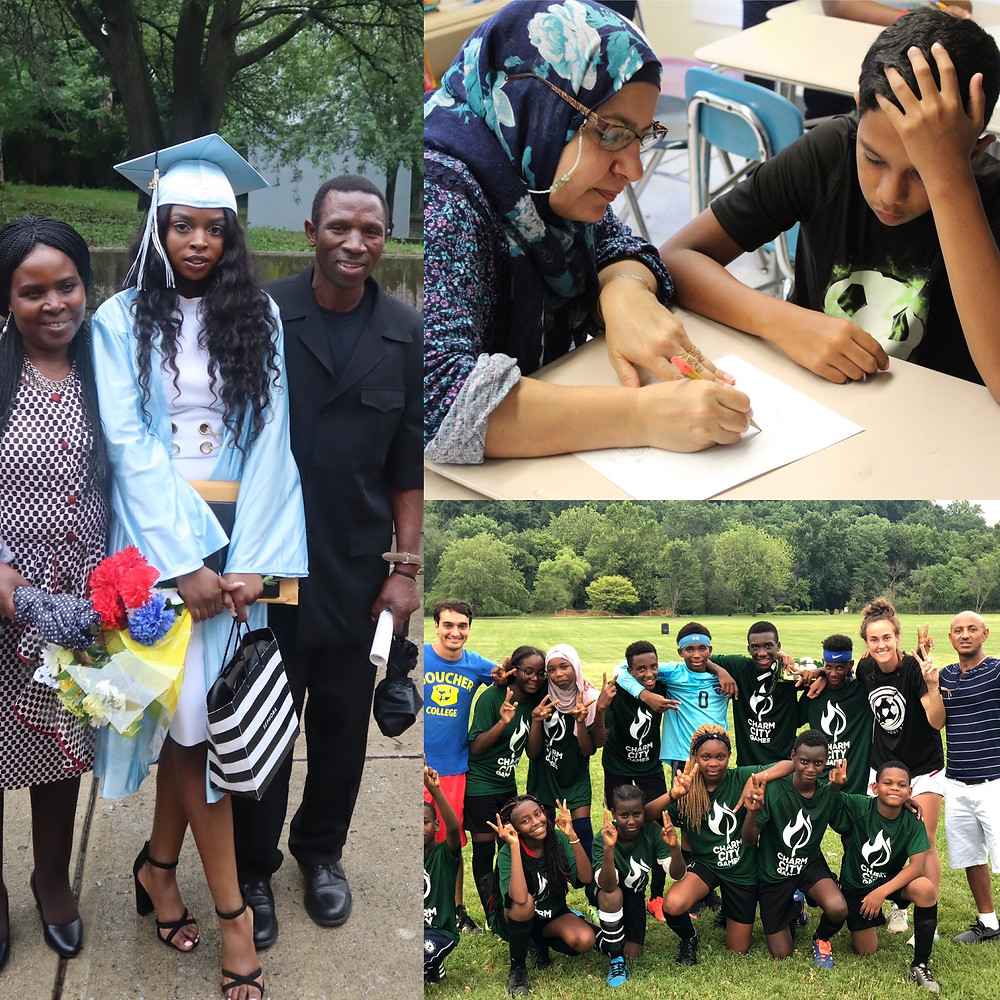 Photo collage featuring community liaisons assisting the SWB program in Maryland including tutoring a participant, celebrating a graduation, and playing at the soccer field.