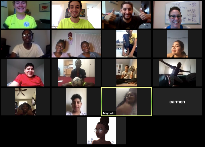 A screenshot of a Zoom call featuring SWB coaches and participants. Everyone is smiling and happy to be together virtually.