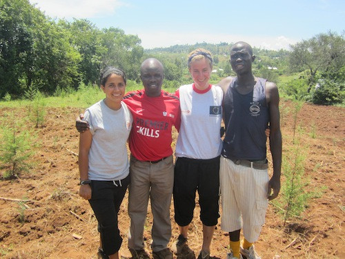 Sarah Festus Ketty and George after finishing the Earth Hour tree planting sessi