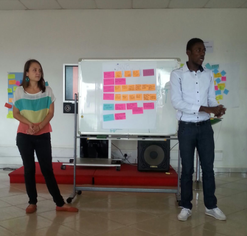 Olivier and Margarita presenting about SWB's Girls Empowerment Program