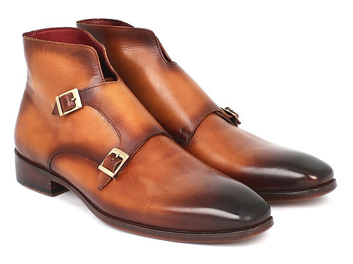 Paul Parkman Men's Double Monkstrap Boots Brown (ID#8154-BRW)