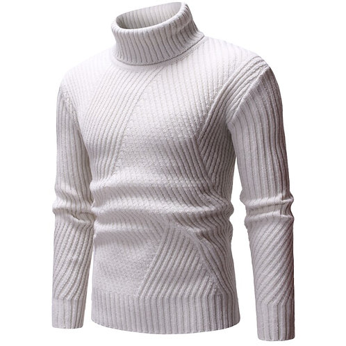 Winter Men's Turtleneck Solid Color Casual Sweater Slim Fit Knitted Pullovers