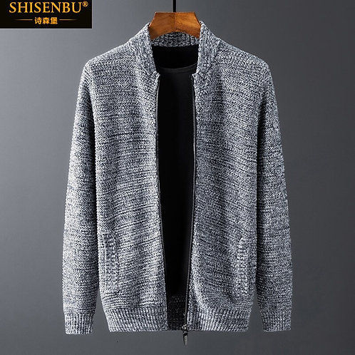100% Cotton Brand Knitted Sweater Men Big Size Black Warm Zipper Cardigan  Coat