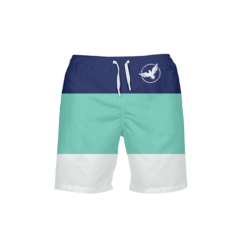 Men's Find Your Coast Classic Striped Teal Navy Beach Shorts UPF 40+ W/Lining
