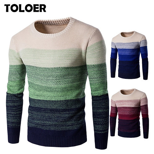 Sweater Men Casual Knitted Soft Cotton O-Neck Pullover Fashion Striped