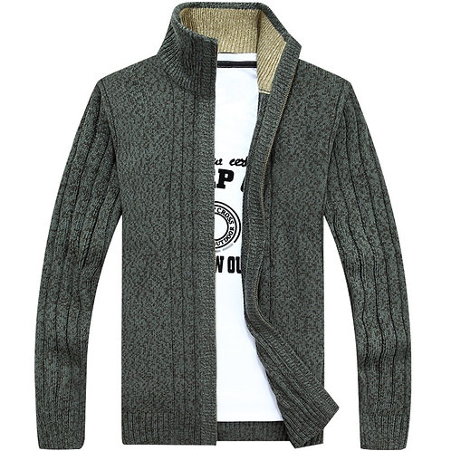 Men's Sweaters Thick Cardigan Coats Zipper Sweaters Casual Solid Color Knitwear