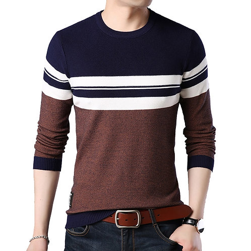 Sweater Men O-Neck Striped Slim Sweaters Long Sleeve Social Business Clothes Men