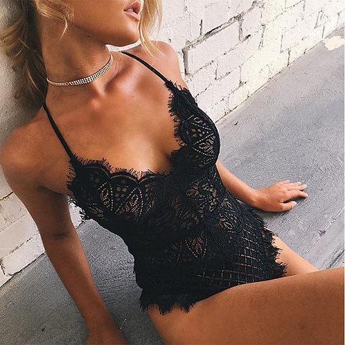 Women Lingerie Nightwear Sleepwear Dress Lace G-String  v Neck Bodysuit Black