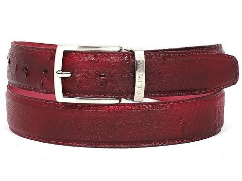 PAUL PARKMAN Men's Burgundy Genuine Ostrich Belt (ID#B04-BUR)