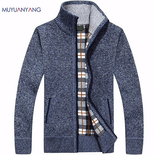 Men's Casual Sweater Coats Fashion Cardigan High Collar Pockets Knit Outwear