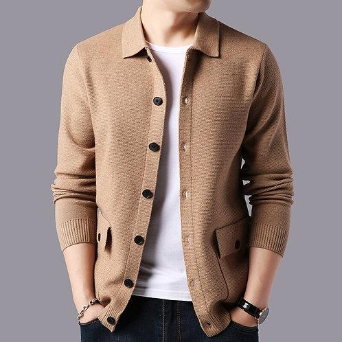 Men Streetwear Fashion Sweater Coat Cashmere Woolen Cardigan With Pocket