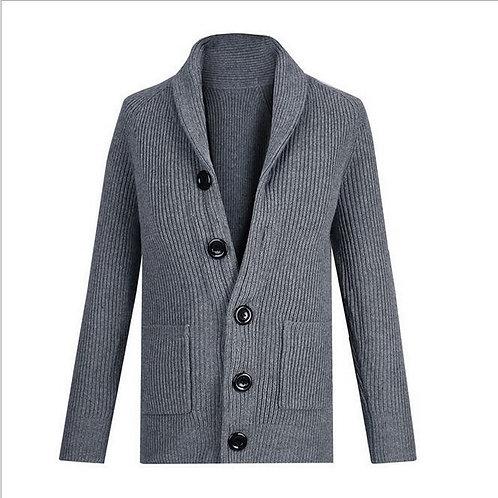 Men's Sweater coat Male Thickening Turn-Down Collar Cardigan Coarse Wool Sweater