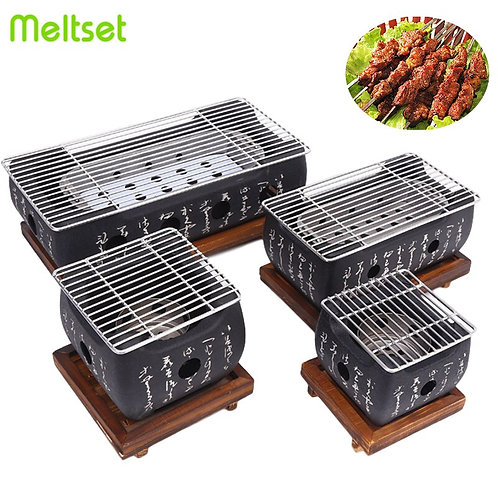 Portable Japanese BBQ Grill Charcoal Aluminum Alloy Pan