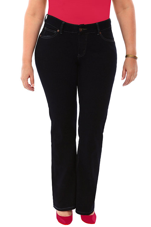 360 Stretch Mid-Rise Straight Denim Jeans in Black Onyx