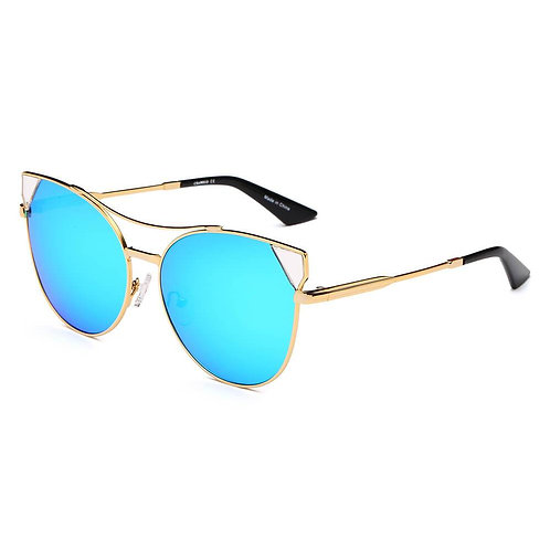 ASPEN | CA02K - Womens Trendy Mirrored Lens Cat Eye Sunglasses