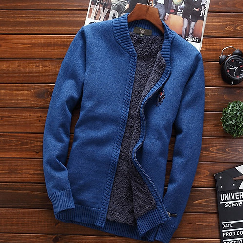 Men Thermal Sweater coat Velvet Thick Cardigan Zipper Sweater Teenage