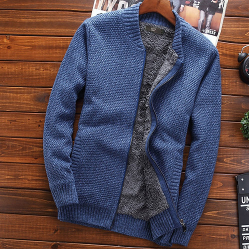 Thermal Outerwear  Tidal Current Solid Color  Zipper Cardigan Sweater