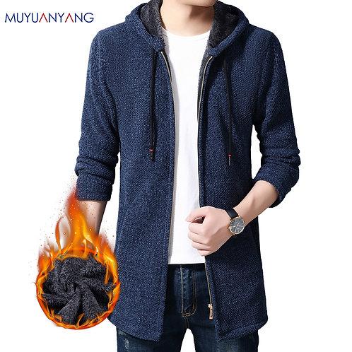 Men Thick Warm Cardigan Hood Sweater Cotton Liner Zipper Cashmere Coats
