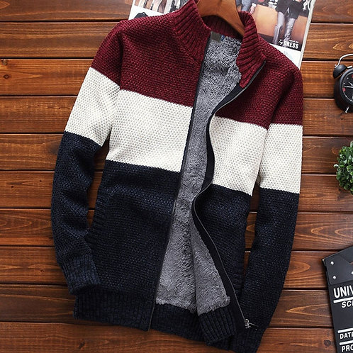 Men Sweater Outerwear Cardigan Zipper Thick Stand Collar Thermal Teenage