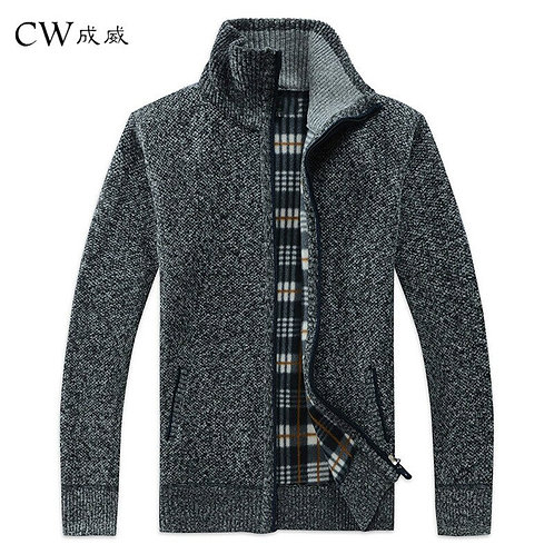 Men's Sweater Coat Faux Fur Wool Sweater Jackets Knitted Thick Coat Casual