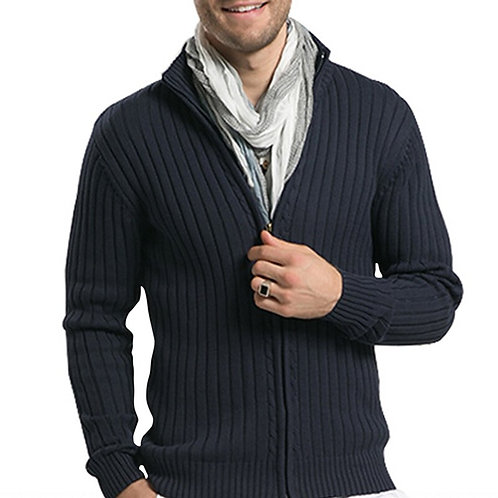 Men Cotton Sweaters Casual Stand-Neck Slim Fit Knitting Men Sweaters Cardigans
