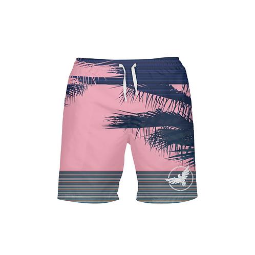 Men's Find Your Coast Summer Stripe Pink Beach Shorts UPF 40+ W/Lining