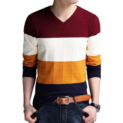 Brand-Sweater Men's Long Sleeve Slim Fit Striped Bottom Large Size M-4xl