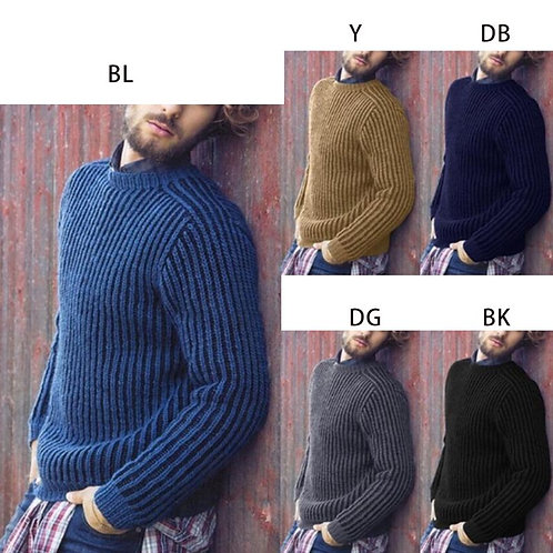 Men's Plus Size Winter Long Sleeve Pullover  Knitted Slim Fit Casual Streetwear