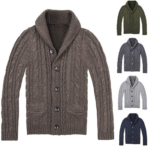 Winter Men Casual Sweater Thick Solid Color Turn-Down Collar Single Breasted