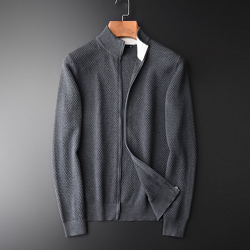 Sweater Men Luxury Solid Color Stand Collar Sweater Male Cardigan  Fashion Slim