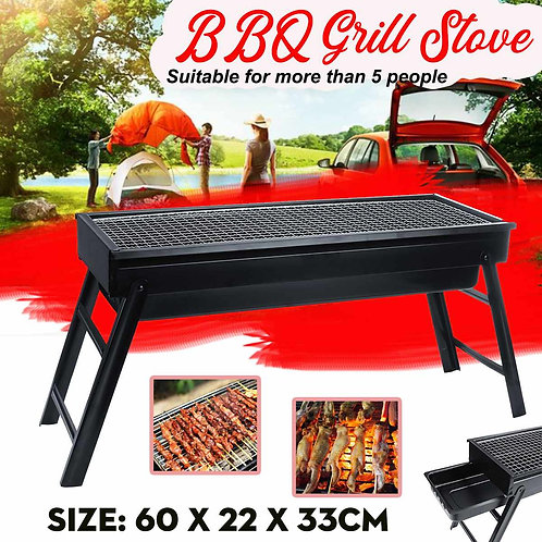 60x22x33cm Portable Stainless Steel BBQ Grill Folding BBQ  Charcoal