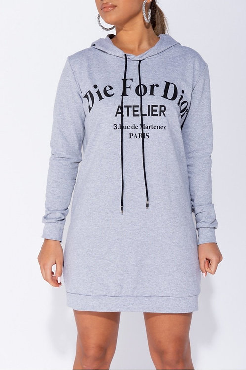 "Grey ""Die for Dior"" Hooded Jumper Dress"