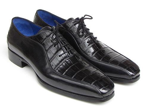 Paul Parkman Men's Black Genuine Crocodile & Calfskin Oxford Shoes (ID#048-BLK)