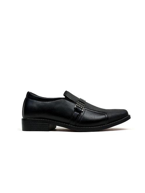 Men's Square Toe Metal Trim Formal Shoes Black