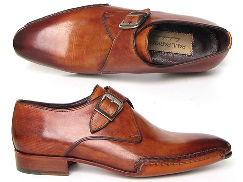 Paul Parkman Men's Monkstrap Shoes Side Handsewn TwistLeather Tobacco (ID#24Y56)
