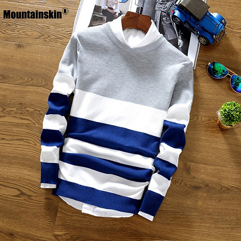 MountainskinWool Sweater Men Slim Knitted Comfort Pullover Casual Striped SA788