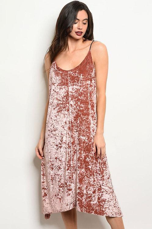 Womens Mauve Velvet Dress