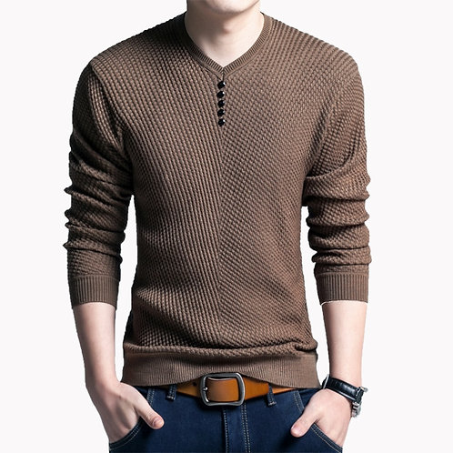 Sweater Casual V-Neck Pullover Men Slim Long Sleeve Knitted Shirt